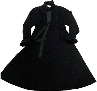 Karl Lagerfeld Paris Black Wool Trench Coat for Women Vintage