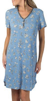 Claudel Plus Floral Short Sleeve Henley Nightgown