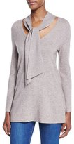 Joie Delores Tie-Neck Wool-Cashmere Sweater, Heather Mushroom