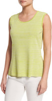 Misook Melange Knit Tank, Sour Apple/White, Petite
