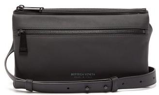 Bottega Veneta Logo-embossed Leather Cross-body Bag - Mens - Black