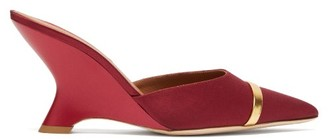 Malone Souliers Marilyn Satin-faced Leather Mules - Burgundy