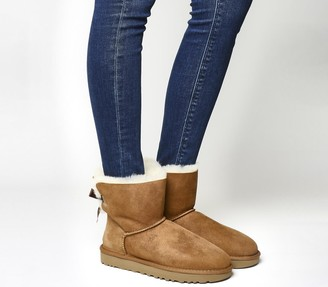 UGG Mini Bailey Bow Boots Chestnut Suede