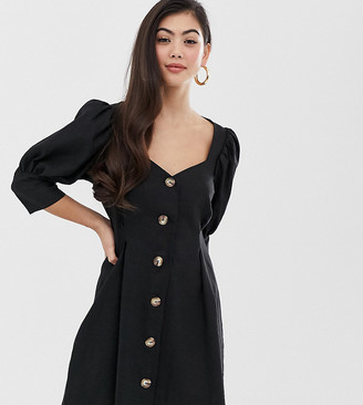 Asos DESIGN Petite scoop neck button through mini dress-Black