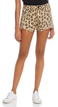 Blank NYC Leopard Print Denim Shorts in Stubborn