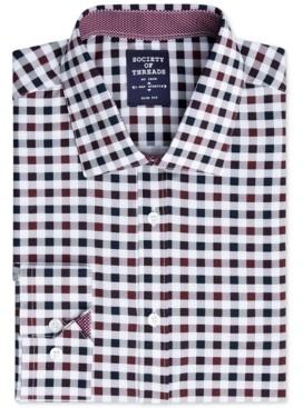 Society of Threads Men's Slim-Fit Performance Stretch Gingham Dress Shirt