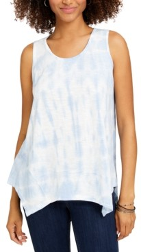Style&Co. Style & Co Petite Clear Skies Tie-Dyed Tank Top, Created for Macy's