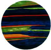 """Momeni Rugs NEWWANW-13NVY790R New Wave Collection, 100% Wool Hand Carved & Tufted Contemporary Area Rug, 7'9"""" Round"""