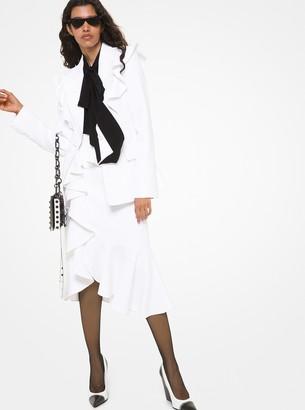 Michael Kors Collection Double Crepe Sable Ruffle-Shoulder Dinner Jacket