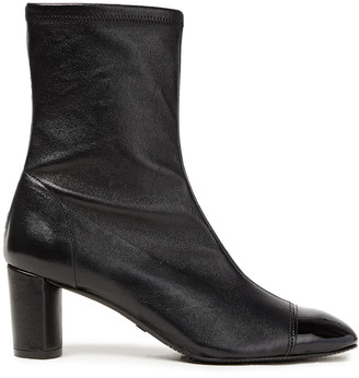 Stuart Weitzman Fernanda 60 Pebbled And Patent-leather Ankle Boots