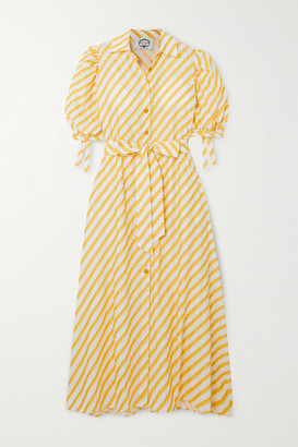 Evi Grintela Iris Belted Frayed Striped Cotton-voile Maxi Dress - Yellow