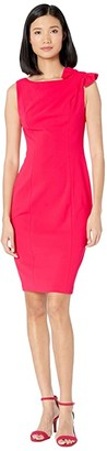 Calvin Klein Ruffle Shoulder Knot Detail Sheath Dress (Lipstick) Women's Dress