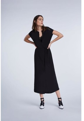Set Fashion - Maxi Dress With Continuous Button Placket In Black - 36