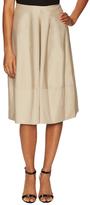 Jil Sander Navy Cotton Gathered Front Knee Length Skirt