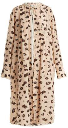 Marni Floral-print Crepe De Chine Silk Dress - Womens - Light Pink