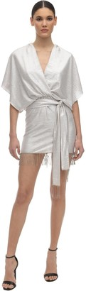 In The Mood For Love Metallic Wrap Mini Dress W/ Fringes