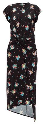 Paco Rabanne Floral-print Gathered Jersey Dress - Black Print