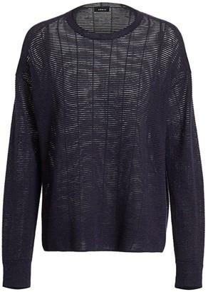 Akris Sheer Horizontal Stripe Wool & Silk Knit Sweater