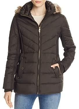 MICHAEL Michael Kors Faux Fur Trim Short Down Coat