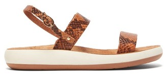 Ancient Greek Sandals Clio Comfort Snake-effect Leather Sandals - Womens - Brown Multi