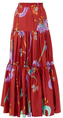 La DoubleJ Big Skirt Maneater Rosso-print Silk-twill Skirt - Womens - Burgundy Multi