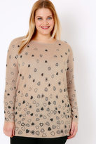 Yours Clothing Oatmeal Brown Embellished Heart Print Knit Jumper