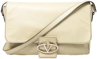 Valentino Light Yellow Leather Flap Shoulder Bag