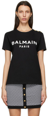 Balmain Black and White 3-Button Logo T-Shirt
