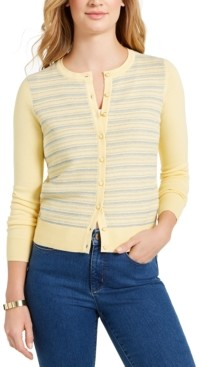 Charter Club Striped Button Cardigan, Created for Macy's