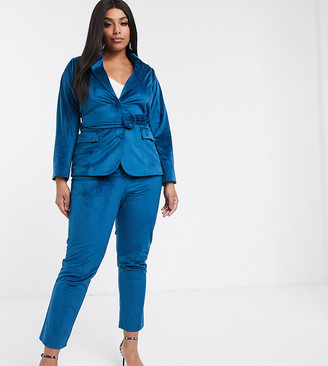 Fashion Union Plus tailored pant in teal velvet co-ord