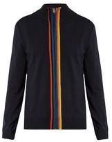 Paul Smith Zip-through striped-placket wool sweater
