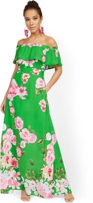 New York & Co. Petite Floral Off-the-Shoulder Ruffle-Top Maxi Dress