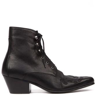 Saint Laurent Black Leather Susan Laced Ankle Boots