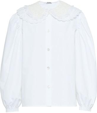 Miu Miu Lace-Detail Poplin Shirt