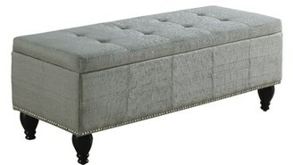 "Charlton Home Darrah Upholstered Flip top Storage Bench Size: 17"" H x 44"" W x 17"" D, Upholstery: Gray"