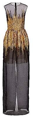 Oscar de la Renta Women's Sheer Foil Overlay Gown