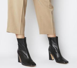 Office Advantage Square Toe Block Heel Boots Soft Black Leather