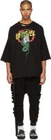 Unravel Black Distressed Snake Boxy T-shirt