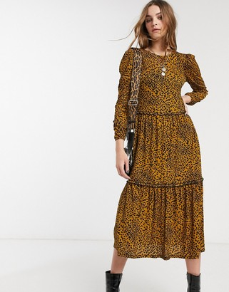 Topshop animal print tiered smock dress in mustard