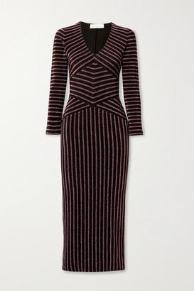Fleur Du Mal Striped Metallic Stretch-knit Midi Dress - Black