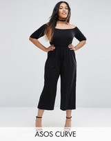 Asos Bardot Jumpsuit With Crop Wide Leg