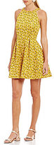 Copper Key Floral Printed Sleeveless Fit-and-Flare Dress