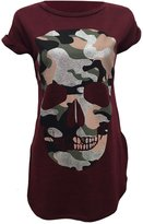 Thever Women Ladies Cap Short Sleeve Skull Army Camouflage Print Top T-Shirt (M/L, )