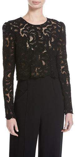 A.L.C. Talia Long-Sleeve Jewel-Neck Cropped Lace Top