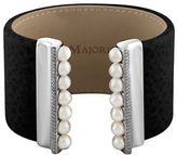 Majorica New Isla 6 MM White Pearls, Cubic Zirconia and Leather Bracelet