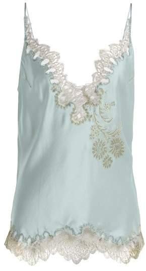 Carine Gilson V Neck Silk Satin Lace Camisole - Womens - Light Blue