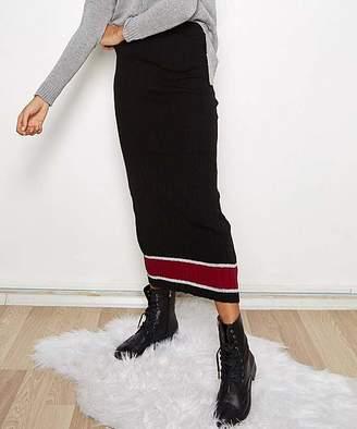 Cck Style CCK Style Women's Casual Skirts BLACK - Black & Burgundy Stripe Maxi Skirt - Women