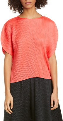 Pleats Please Issey Miyake Curved Pleated Top