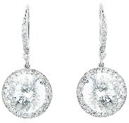 Andrea Fohrman Large Round Rock Crystal Earrings with Diamonds - White Gold