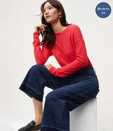 LOFT Modern Unpicked Wide Leg Crop Jeans in Dark Indigo Wash